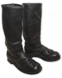 German Police Black Leather Riding Boots