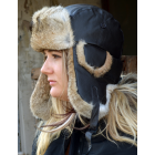 Leather and Rabbit Fur Unisex Bomber Hat