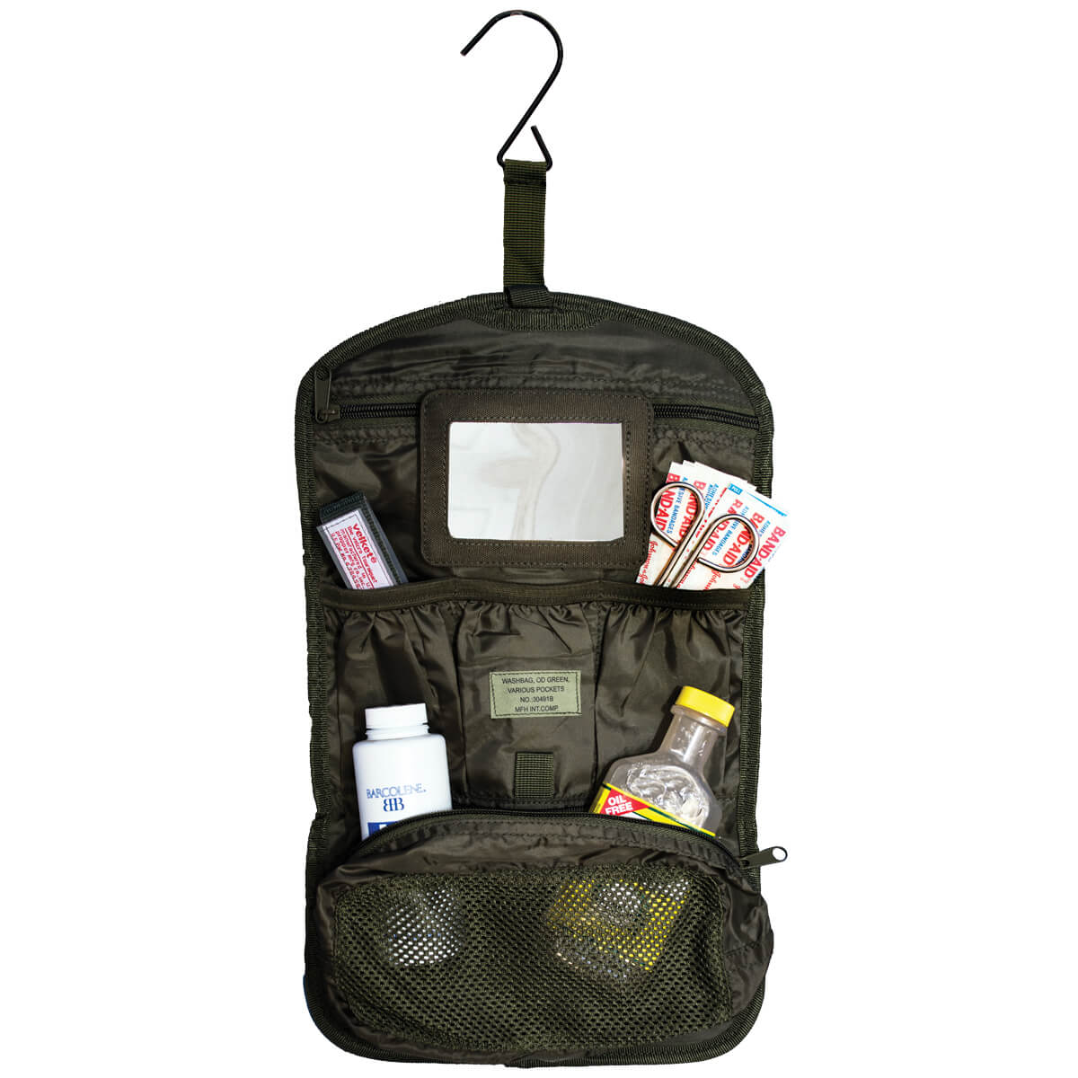 military hanging wash bag for tent camping accessories. From Coleman's Military Surplus
